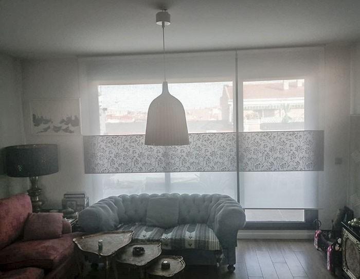 Cenefa, tejidos Capri natural y Llima gris
